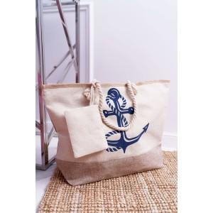 Béžová dámská námořnická taška na pláž