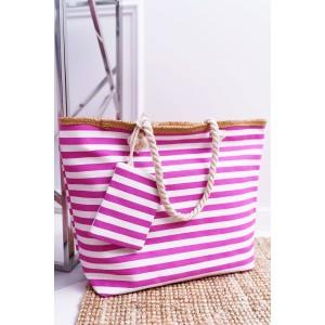Stylová plážová taška růžové barvy s praktickou kapsou