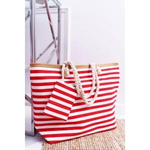 Červená dámská plážová taška na léto