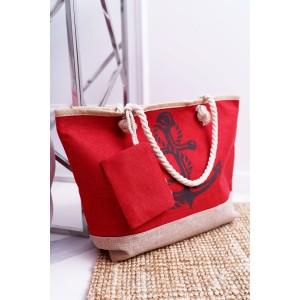Velká plážová taška s námořnickým motivem červené barvy