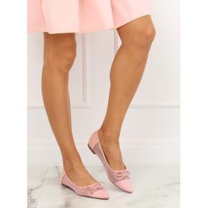 Růžové dámské balerínky s průsvitnou častou