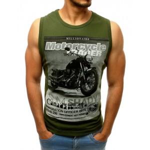 Stylové pánské zelené tričko s bez rukávů s potiskem motorky