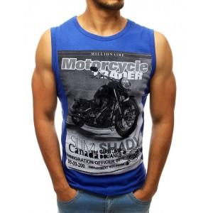 Letní pánské tričko modré barvy bez rukávů s potiskem