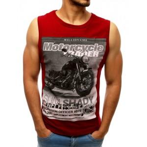 Červené pánské tričko bez rukávů s potiskem motorky