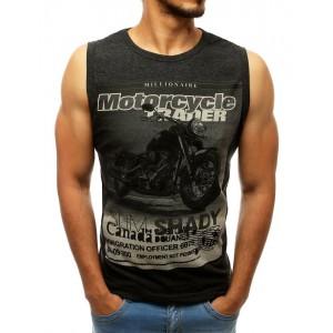 Černo šedé pánské letní triko bez rukávů s potiskem motorky