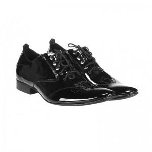 Elegantní pánské kožené lakované boty černé barvy COMODOESANO 4eea066156