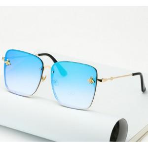 Modré kovové sluneční brýle pro dámy
