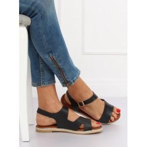 Pohodlné dámské černé sandály na léto s vázáním kolem nohy