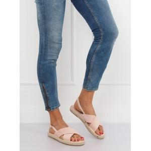Pohodlné dámské sandály béžové na nízké pletencový podrážce