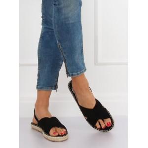 Černé dámské sandály s pletencem a zapínáním na řemínek