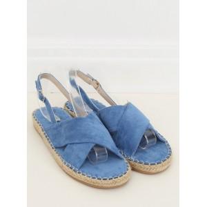 Dámské modré sandály na nízké podrážce s pletencový lemem