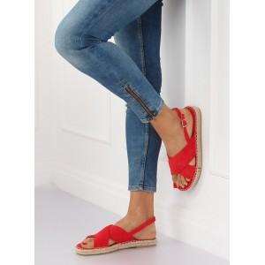 Červené dámské nízké sandály espadrilky s překříženými pruhy