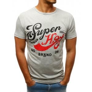 Světle šedé pánské tričko s barevným potiskem