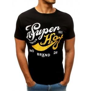 Letní pánské tričko černé barvy s barevným nápisem