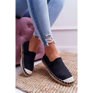 Trendy dámské černé espadrilky s módním prošitím a pleteninou