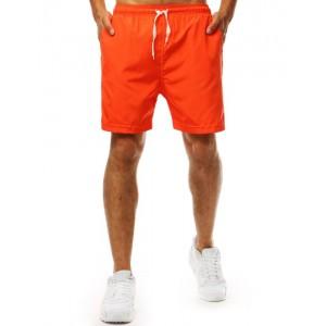 Moderní pánské plavky v neonově oranžové barvě s bočními kapsami