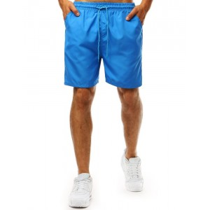 Jednobarevné modré pánské plavky s bočními kapsami