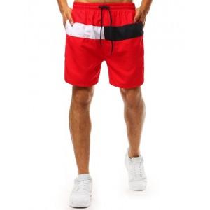 Originální pánské červené plavky boxerky s bočními kapsami