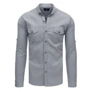 Pánská košile s dlouhým rukávem v šedé barvě a módními kapsami
