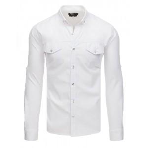 Stylová pánská bílá košile s dlouhým rukávem a předními kapsami