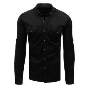 Moderní pánská černá košile slim fit se zapínáním na knoflíky