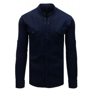 Tmavě modrá košile se stand up límcem a módním designem