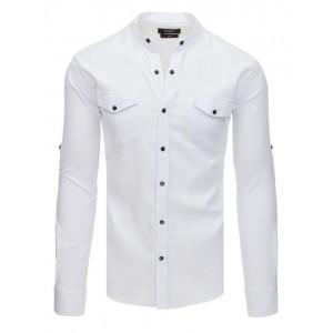Stylová pánská košile bílé barvy se zapínáním na druky a s kapsami