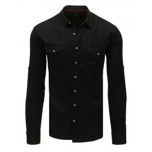 Trendy pánská černá košile na volný den slim fit střihu a kapsami