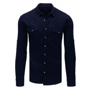Slim fit pánská moderní tmavě modrá košile s dlouhým rukávem a kapsami
