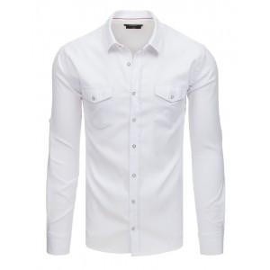 Sportovně elegantní pánská košile v bílé barvě s předními kapsami