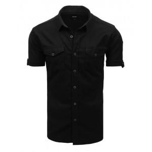 Trendy černá pánská košile s krátkým rukávem a kapsami