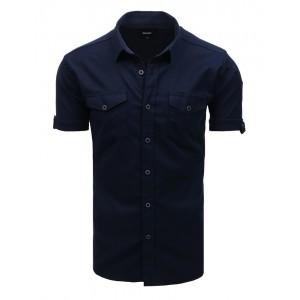 Originální tmavě modrá pánská košile s krátkým rukávem a s kapsami