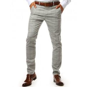 Elegantní světle šedé pánské chino kalhoty s vzorem kára