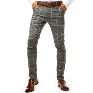 Pánské tmavě šedé společenské slim kalhoty se vzorem kára