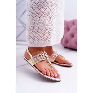 Krásné dámské letní růžové sandály metalické s ozdobnými krystaly