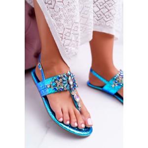 Luxusní dámské metalické sandály v modré barvě s lesklými krystaly