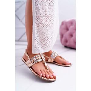 Elegantní dámské růžovo zlaté sandály na nízké podrážce s kamínky