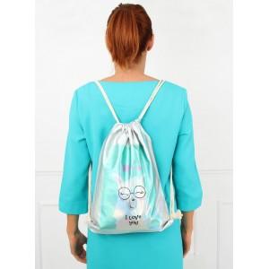 Dívčí batoh ve stříbrné barvě I love you
