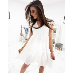 Bílé dámské šaty na léto s véčkovým výstřihem