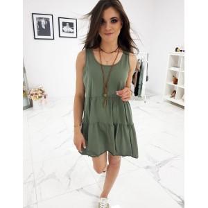 Bavlněné letní šaty na ramínka v khaki barvě