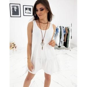 Pohodlné letní šaty na ramínka v bílé barvě