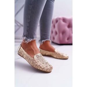 Zlaté dámské pletené mokasíny