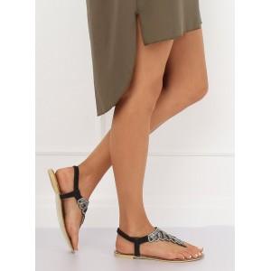 Nízké dámské sandály v černé barvě