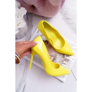 Dámské lesklé lodičky ve žluté barvě