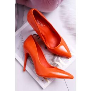 Lesklé dámské lodičky v oranžové barvě na vysokém podpatku