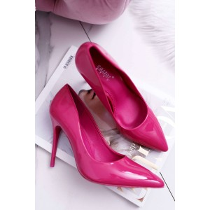 Lesklé vysoké lodičky v růžové barvě