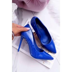 Moderní lodičky na vysokém podpatku v modré barvě
