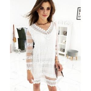 Stylové letní šaty bílé barvy s podšívkou