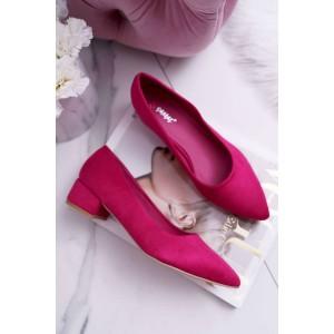 Moderní dámské lodičky na nízkém podpatku v růžové barvě