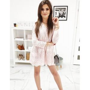 Pudrově růžové dámské šaty s dlouhým rukávem